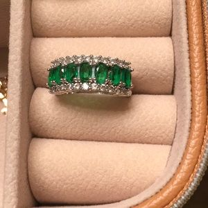 Emerald and CZ ring